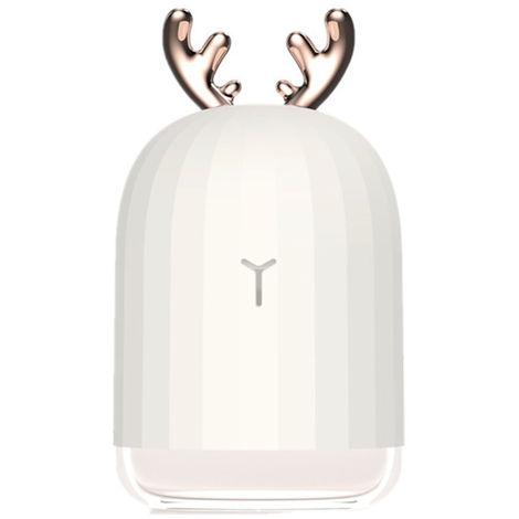 Humidificador de aire ultrasonico USB de 220 ml, con lampara de noche, blanco