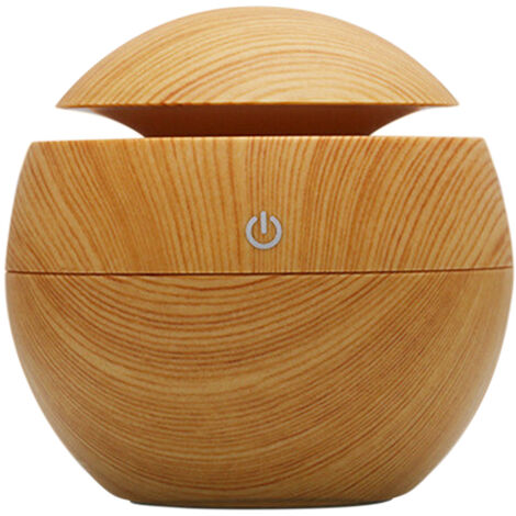 Humidificateur a grain de bois rond, veilleuse muette, diffuseur d'arome de voiture de bureau a domicile SZ-100 grain de bois clair