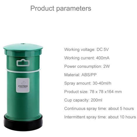 Humidificateur d'Air 2W Mini Portable Post Box Shape Mute de bureau Purificateur Aromatherapy avec port USB étendu, Capacité: 20