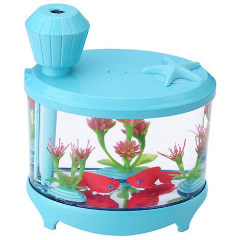 Humidificateur D'Air Par Ultrasons, Petits Cylindres D'Aquarium, Bleu Clair