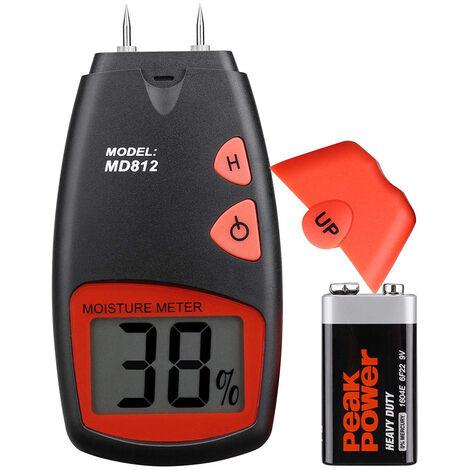 Humidimètre numérique pour bois Testeur d'humidité LCD portable Détecteur d'humidité humide avec 2 broches de capteur de rechange et une batterie 9V (tous deux inclus)