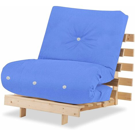 Humza Amani Luxury Natural Pine Wood Metro Futon Sofa Bed Frame and Mattress Set, 1 Seater Small Single [77cm x 196cm] - Cream