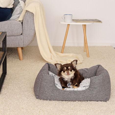Hundebett Hundekissen Hundekörbchen mit Wendekissen meliert verschiedene Größen grau