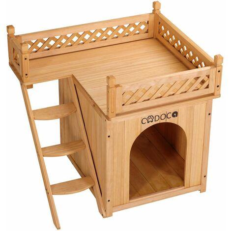 Hundehütte mit Balkon Hundehaus Hundebett Holz 2 Etagen