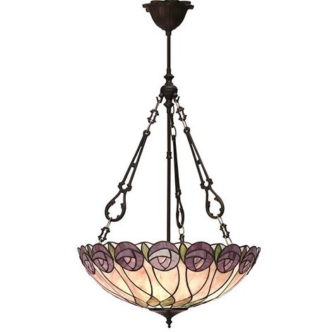 Hutchinson Large Inverted Tiffany Ceiling 3Lt Pendant Floral Design On Shade