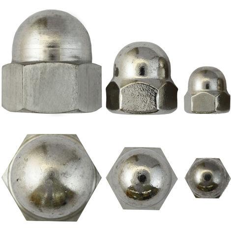 100 Stk DIN 917 Sechskant-Hutmutter M8 Stahl verzinkt