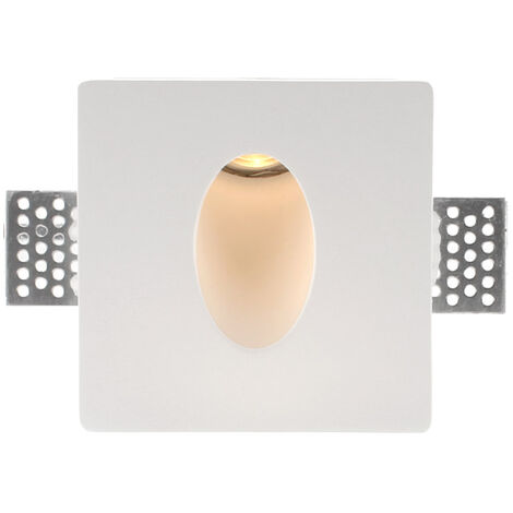 HUTT Baliza empotrada escayola, 100x100mm, 1W, Blanco cálido