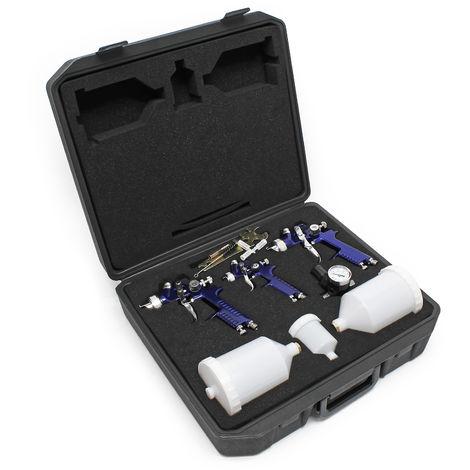 HVLP 3x Spray gun Paint spray gun set Pressure regulator Case Spraying pistol Air