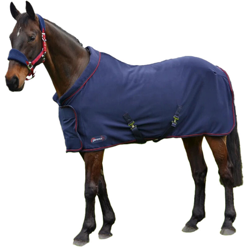Image of DefenceX System Roll Neck, Cushioned Horse Fleece Rug (5´ 9') (Navy/Red) - HY