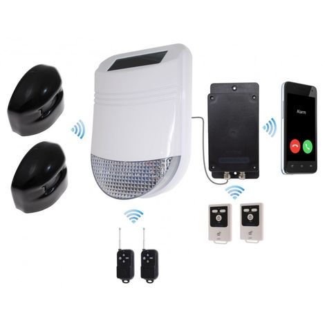 HY Outdoor Solar Wireless Siren Alarm Kit 2 & Battery GSM Auto-Dialler