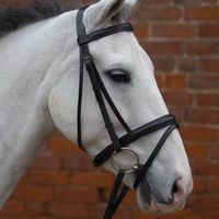 Hy Padded Flash Bridle W/Rubber Grip Reins 1/2In Black - Pony