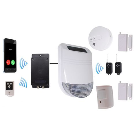 HY Solar Wireless Siren House Alarm Kit 6 with Battery GSM Dialler