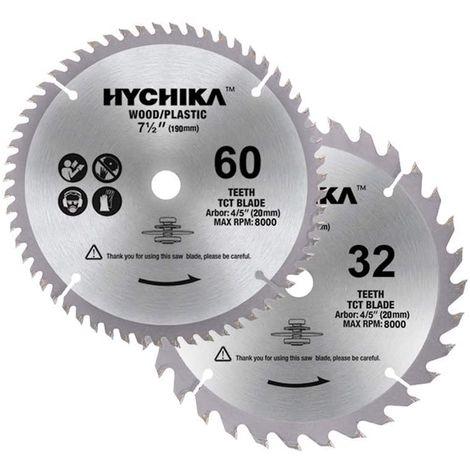 HYCHIKA 2 Hojas de Sierra Circular con Material de Acero, Hojas 60T / 32T de 190 mm x 20 mm para Corte de Madera o Plástico