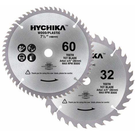 HYCHIKA Circular Saw Blades 2 Packs: 60T and 32T, Diameter 190mm, Arbor: 20mm