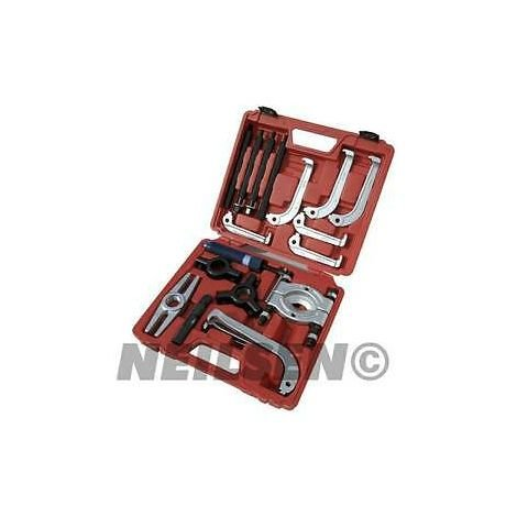 WilTec Hydraulic puller set in practical carrying case with 10t traction