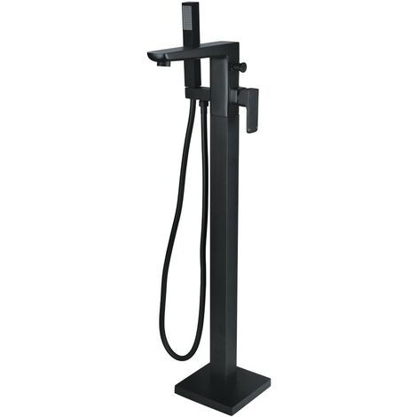 Hydro Matt Black Floor Mounted Bath Shower Mixer & Shower Kit