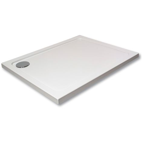 Hydro45 1600 x 800mm White Rectangular Shower Tray - size 1600 x 800mm - color White