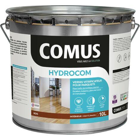 HYDROCOM MAT SOIE - Incolore 10L - Vitrificateur polyuréthane acrylique mono-composant pour parquets, escaliers et boiseries - COMUS