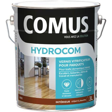 HYDROCOM SATIN - Incolore 3L - Vitrificateur polyuréthane acrylique mono-composant pour parquets, escaliers et boiseries - COMUS
