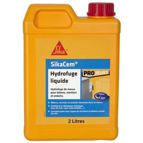 Hydrofuge de masse liquide SIKA SikaCem - Pour béton et mortier - 2L - Blanc