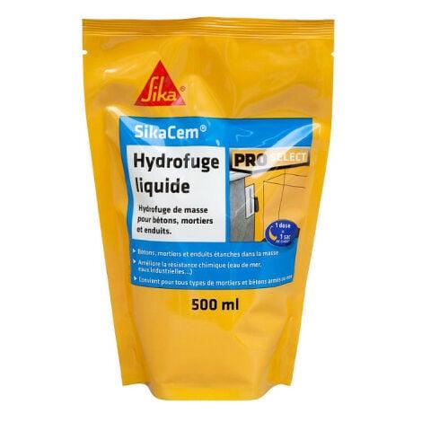 Hydrofuge de masse liquide SIKA SikaCem - Pour béton et mortier - 500ML - Blanc