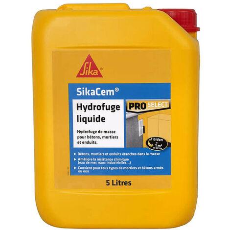 Hydrofuge de masse liquide SIKA SikaCem - Pour béton et mortier - 5L - Blanc