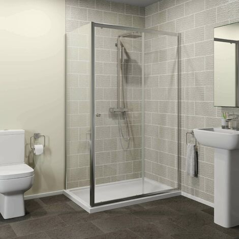Hydrolux 1000x700mm Sliding Shower Door & Side Panel 4mm Glass