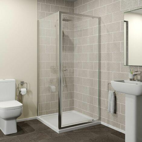 Hydrolux 760 x 760mm Pivot Shower Door & Side Panel - 4mm Glass
