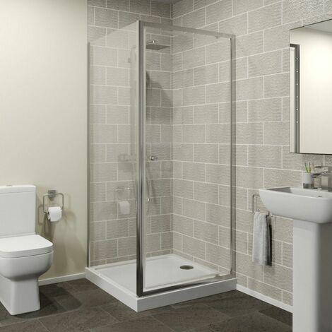 Hydrolux 760 x 760mm Pivot Shower Door & Side Panel 4mm Glass Easy Plumb Tray