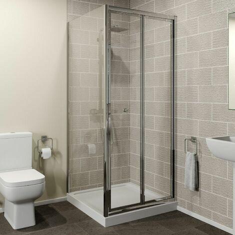 Hydrolux 900 x 900mm Bi-fold Shower Door & Side Panel 4mm Glass Easy Plumb Tray