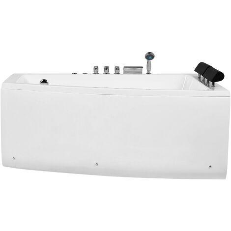 Hydromassage Corner Bathtub Left Hand Air Jets White Acrylic Serrana