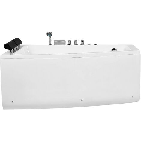 Hydromassage Corner Bathtub Right Hand Air Jets White Acrylic Serrana