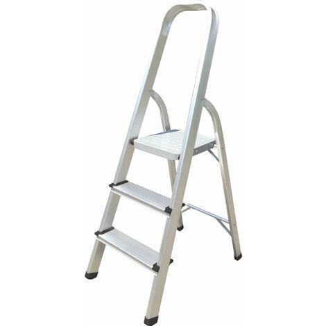 Hyfive Aluminium 3 Step Ladder With Non Slip Treads Lightweight Aluminium EN 131