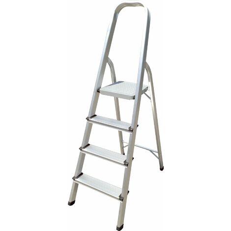 Hyfive Aluminium 4 Step Ladder With Non Slip Treads Lightweight Aluminium EN 131