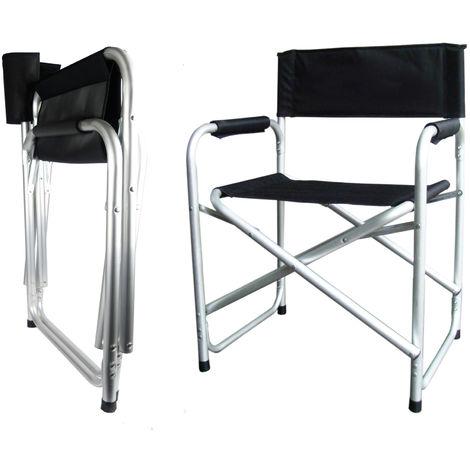 Hyfive Black Aluminium Directors Folding Chair Arm Rest Camping Fishing Chair