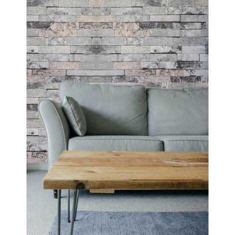 Hyfive - Wallpaper 3D Brick Effect - Straight - Grey Stone Colour - 10 x 0.53 m