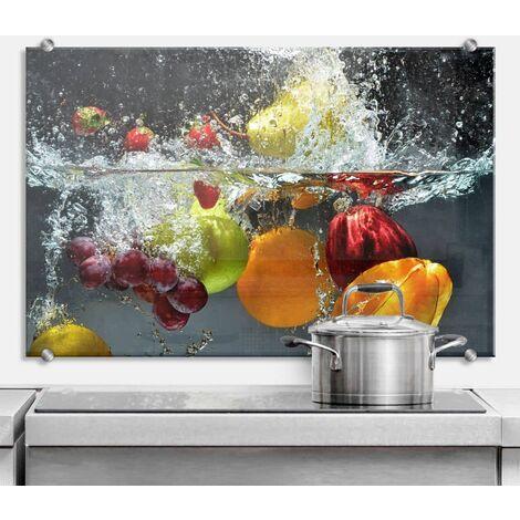Hygienischer Spritzschutz Küche Wandschutz Herd Glasbild 100x70cm Frisches Obst
