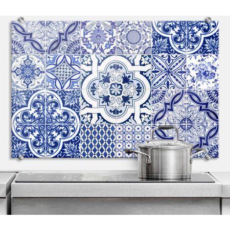 Hygienischer Spritzschutz Küche Wandschutz Herd Glasbild 100x70cm Vintage Blau