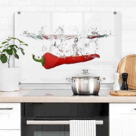 Hygienischer Spritzschutz Küche Wandschutz Herd Glasbild 60x40cm Chilischote