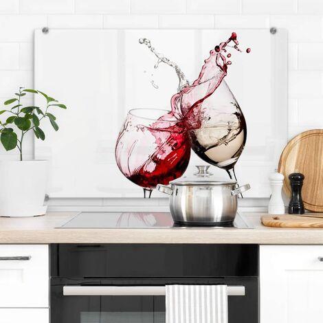 Hygienischer Spritzschutz Küche Wandschutz Herd Glasbild 60x40cm Weingläser