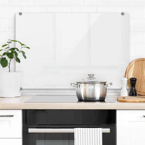 Hygienischer Spritzschutz Küche Wandschutz Herd Glasbild 60x40cm Weiß