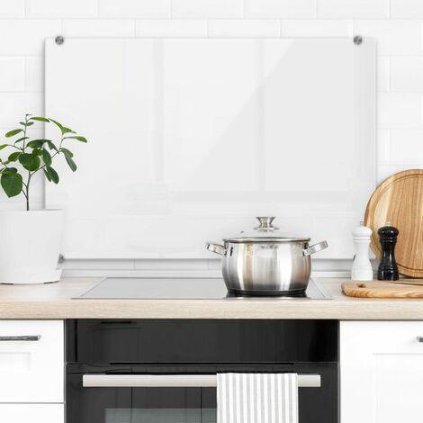 Hygienischer Spritzschutz Küche Wandschutz Herd Glasbild 80x60cm Weiß