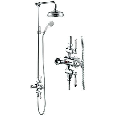 Hynar Traditional Chrome Thermostatic Dual Control Exposed Shower Mixer Kit