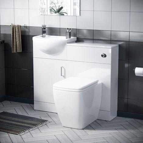 Hypar 400mm Floor Standing Vanity, WC Unit & Square BTW Toilet White