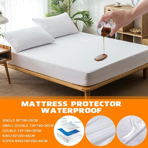 Hypoallergenic waterproof mattress topper protective cover against dust mites (smadouble 120X190X36cm)