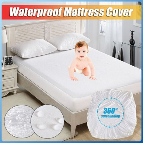 Hypoallergenic waterproof mattress topper protective cover against dust mites (supking 180X200X46cm)