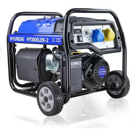 Hyundai 3.2kW / 4.00kVa* Electric Start Site Petrol Generator | HY3800LEK-2