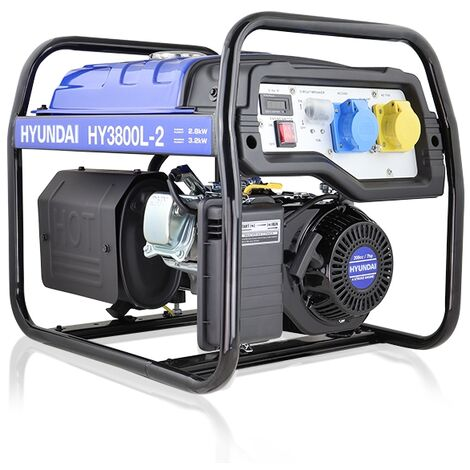 "main image of ""Hyundai 3.2kW / 4.00kVa* Recoil Start Site Petrol Generator | HY3800L-2"""