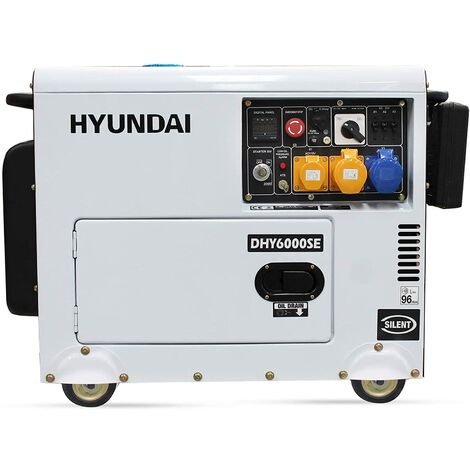 Hyundai 5.2kW Silenced Diesel Generator, 5.2 W, 230 V, White and Black, DHY6000SE