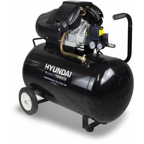 HYUNDAI Compresseur 100L bi-cylindre en V lubrifié 3HP HC100L-A